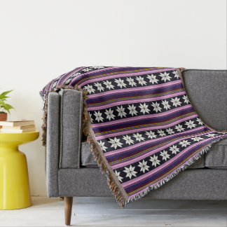 Winter Berry Nordic Knitted Cross Stitch Graphic Throw Blanket
