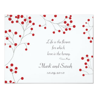 Winter Berry White RSVP 11 Cm X 14 Cm Invitation Card