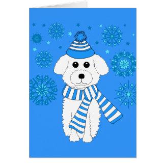 Winter Bichon Greeting Card