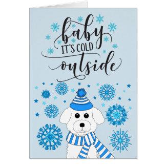 Winter Bichon Frise Customizable Holiday Card