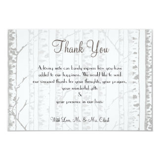 Winter Birch Wood Thank you Card