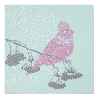 Winter bird on berries branches, lantern - Xmas Card