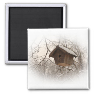 Winter Birdhouse Magnet