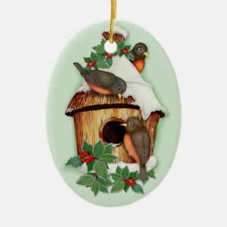 Winter Birds Ceramic Ornament