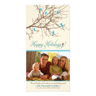 Winter Birds Happy Holidays Photo Card (aqua)