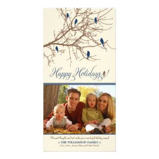 Winter Birds Happy Holidays Photo Card (blue)