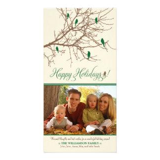 Winter Birds Happy Holidays Photo Card (green)
