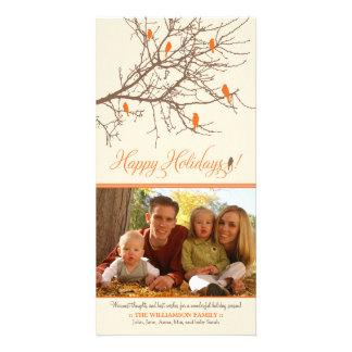 Winter Birds Happy Holidays Photo Card (orange)