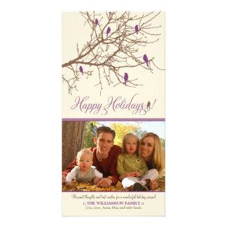 Winter Birds Happy Holidays Photo Card (purple)