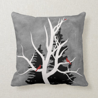Winter Birds Silhouettes Throw Pillow
