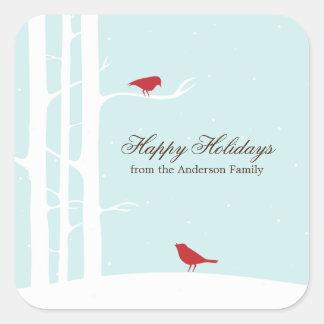 Winter Birds Square Sticker