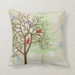 Winter Birds Throw Pillows