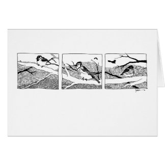 Winter Birds Triptych - ink Card