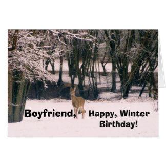 Winter birthday, boyfriend, deer in the snow. greeting card