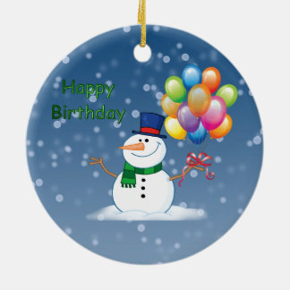 winter birthday snowman ceramic ornament