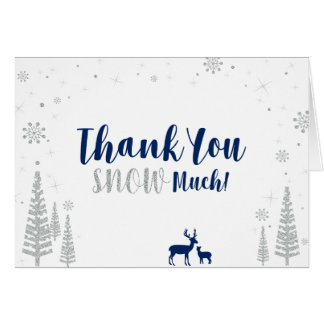 Winter Birthday Thank You Card - Navy & Silver