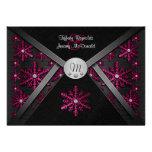 Winter Black & Pink Snowflake Wedding Invitations