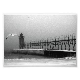 Winter Blizzard Over Pier Photo Print