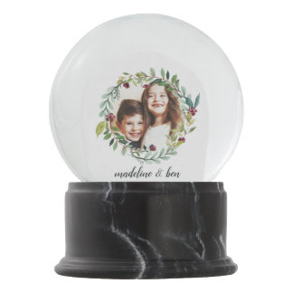 Winter Blooms Holiday Photo Snow Globe