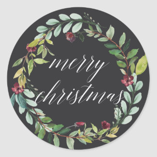 Winter Blooms | Merry Christmas Classic Round Sticker