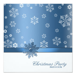 Winter Blue and White Snowflake Christmas Party Card