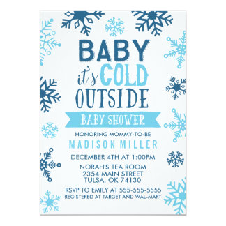Winter Blue Baby It's Cold Outside Baby Shower Card