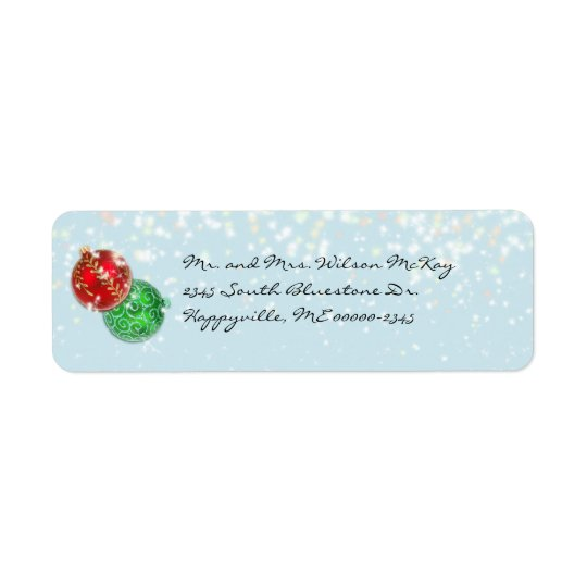 Winter Blue Christmas Snowfall Return Address Return Address Label