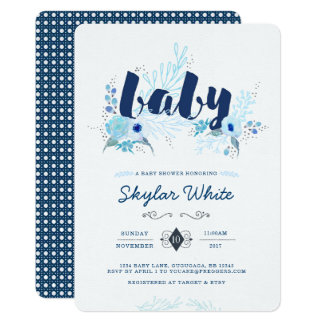 Winter Blue Flower Baby Shower Invitation