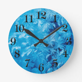 Winter Blue Frozen Ice Crystal Room Round Clock