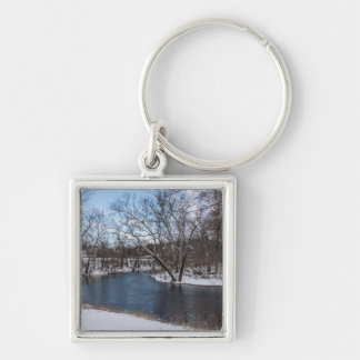 Winter Blue James River Silver-Colored Square Key Ring