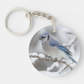 Winter Blue Jay Key Ring