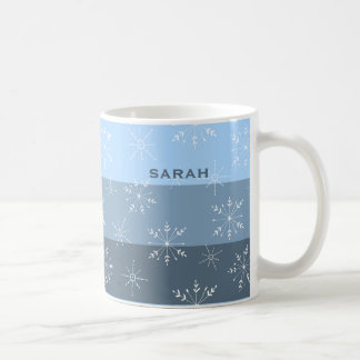 Winter Blue Stripes With Snowflake Pattern Coffee Mug