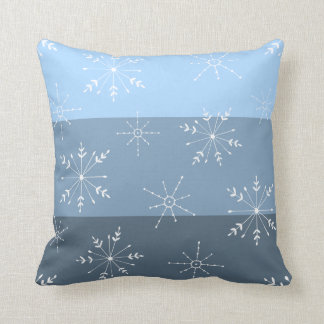 Winter Blue Stripes With Snowflake Pattern Cushion