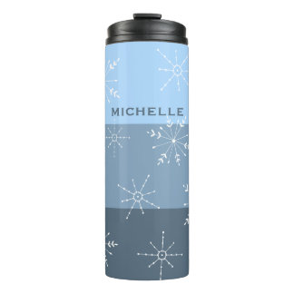 Winter Blue Stripes With Snowflake Pattern Thermal Tumbler