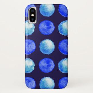 Winter Blue Watercolor Dots Pattern iPhone X Case