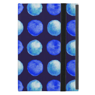 Winter Blue Watercolor Large Dots Pattern iPad Mini Case