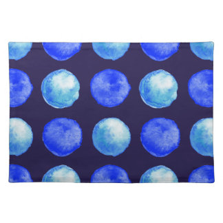 Winter Blue Watercolor Large Dots Pattern Placemat