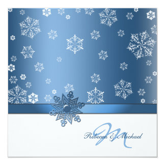 Winter Blue & White Snowflake Wedding Invites