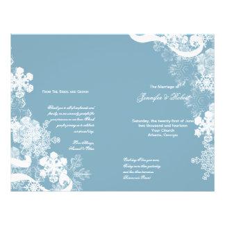 Winter Blue White Snowflake Wedding Program 21.5 Cm X 28 Cm Flyer