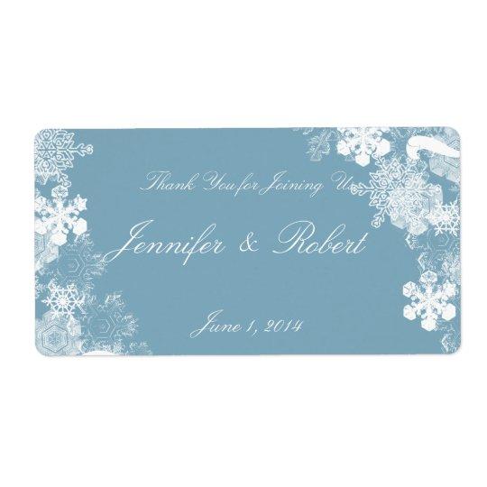 Winter Blue White Snowflakes Wedding Water Label