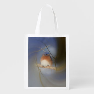 Winter Bluebird Animal Personalized Reusable Grocery Bags