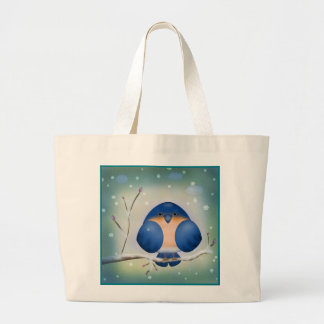 Winter Bluebird Large Tote Bag