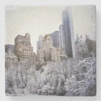 Winter Blues In Central Park Stone Coaster