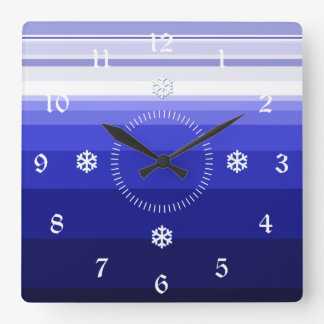 Winter Blues Square Wall Clock