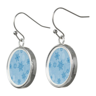Winter bokeh, blue earrings