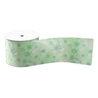 winter Bokeh green Grosgrain Ribbon