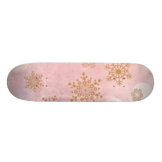 winter Bokeh pink Skateboard Deck
