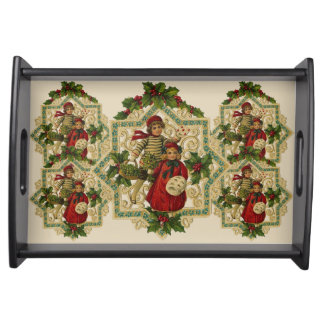 Winter Boy & Girl Merry Christmas Holly Medallions Serving Tray