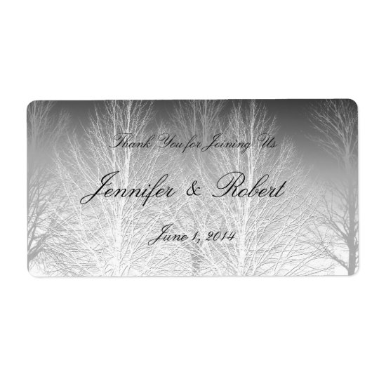 Winter Branches Black White Grey Water Label Shipping Label