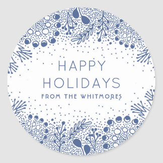 Winter Branches Modern Happy Holidays Classic Round Sticker